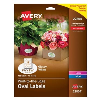avery easy peel print to the edge permanent inkjetlaser oval labels