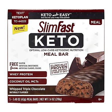 SlimFast Whipped Triple Chocolate Keto Meal Bars, 1.48 Oz, 5 Bars Per Pack, Box Of 2 Packs