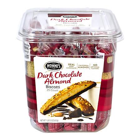 Nonni's Dark Chocolate Almond Biscotti, 0.86 Oz, Tub Of 25 Biscotti