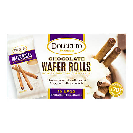 Dolcetto Premium Chocolate Wafer Rolls, 0.53 Oz, Box Of 15 Bags