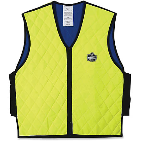 Ergodyne Chill-Its Evaporative Cooling Vest - Comfortable, High Visibility, Ventilation, Stretchable, Water Repellent, Lightweight, Durable, Washable, Reusable, Zipper Closure - Medium Size - Polymer, Nylon - Lime - 1 / Each
