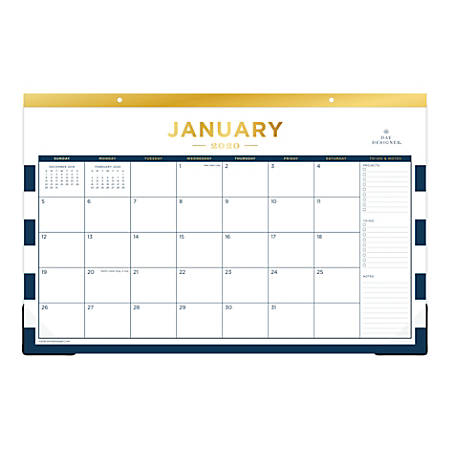 "Day Designer Monthly Desk Pad, 17"" x 11"", Navy Stripe, January To December 2020, 103628"