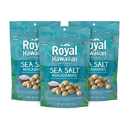 Royal Hawaiian Sea Salt Macadamias, 4 Oz, Pack Of 3 Bags