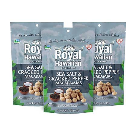 Royal Hawaiian Sea Salt And Cracked Pepper Macadamias, 4 Oz, Pack Of 3 Bags