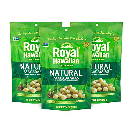 Royal Hawaiian Natural Macadamias, Unsalted, 4 Oz, Pack Of 3 Pouches
