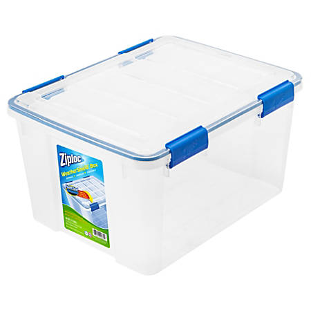 "Ziploc® Weathertight Storage Box, 44 Qt, 11""H x 15 4/5""W x 19 7/10""D, Clear"