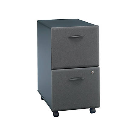"Bush Business Furniture Office Advantage 20-1/6""D Vertical 2-Drawer Mobile File Cabinet, Slate/Slate, Standard Delivery"