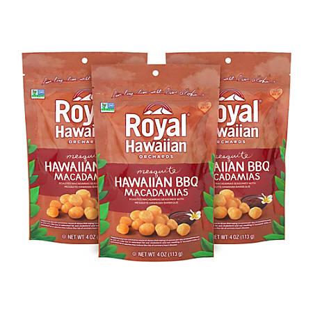 Royal Hawaiian Mesquite BBQ Macadamias, 4 Oz, Pack Of 3 Bags