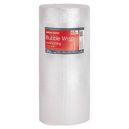 """Office Depot® Brand Bubble Roll, Extra-Wide, 3/16"""" Thick, Clear, 24"""" x 60'"""
