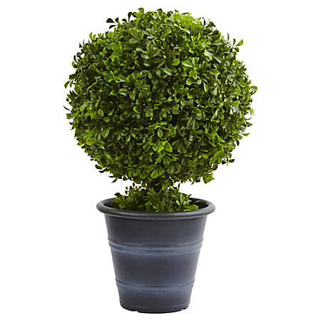 """Nearly Natural 23""""H Plastic Boxwood Ball Topiary With Planter, Green"""