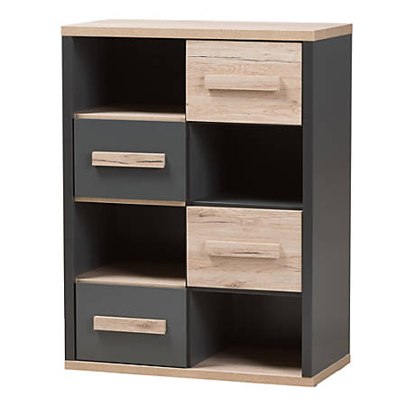 Baxton Studio Mert 4-Shelf Storage Cabinet, Dark Gray/Oak