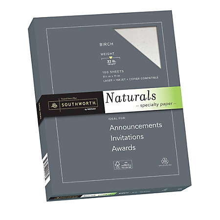 "Southworth® Naturals Specialty Paper, 8 1/2"" x 11"", 32 Lb, Flecked Finish, Birch, 100 Sheets"