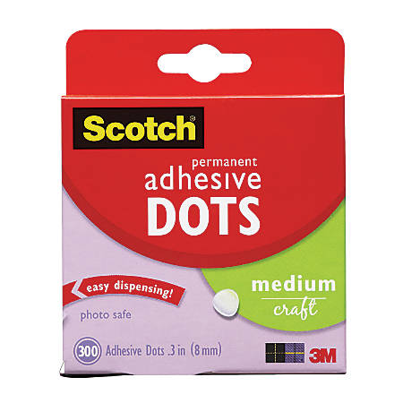 Scotch® Permanent Adhesive Dots, Medium Craft, Pack Of 300