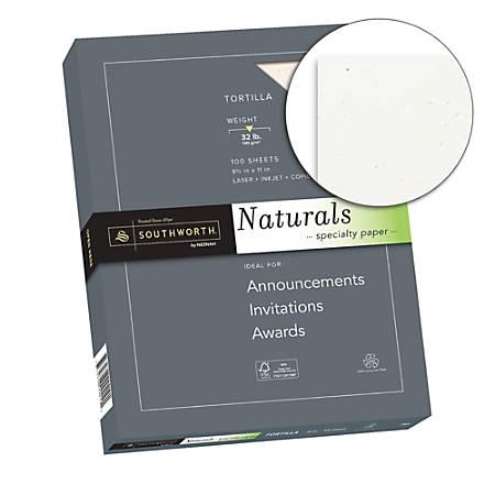 """Southworth® Naturals Specialty Paper, 8 1/2"""" x 11"""", 32 Lb, Tortilla, 100 Sheets"""