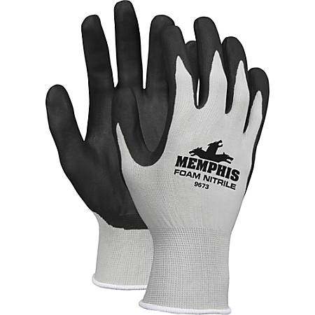 Memphis Safety Nylon Knit Powder-Free Industrial Gloves, Large, Black/Gray