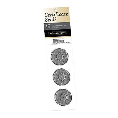 Southworth® Award/Certificate Seals, Silver, Pack Of 15