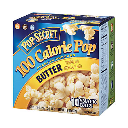 Pop Secret 100 Calorie Popcorn, Butter, 1.12 Oz, Pack Of 10