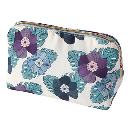 "Office Depot® Fashion Zippered Pouch, 8"" x 5"", Floral"