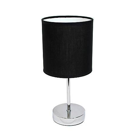 "Simple Designs Mini Basic Table Lamp, 11 7/8""H, Black Shade/Chrome Base"