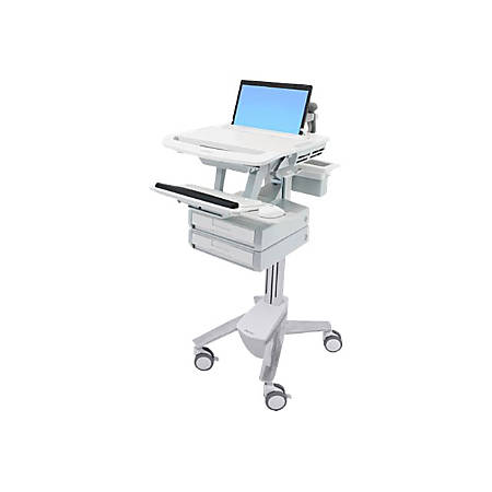 "Ergotron StyleView Laptop Cart, 1 Drawer - Up to 17.3"" Screen Support - 20 lb Load Capacity - 50.5"" Height x 17.5"" Width x 30.8"" Depth - Floor Stand - Aluminum - White, Gray"