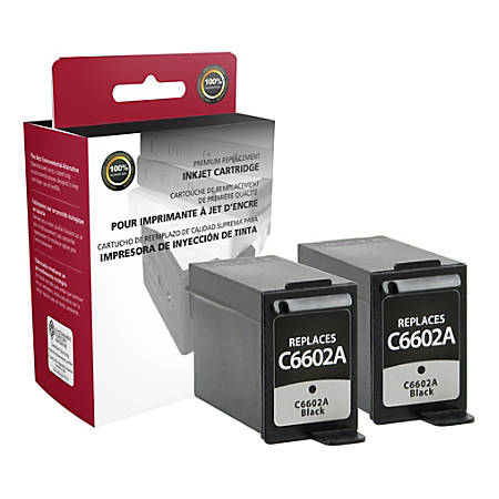 Clover Imaging Group OD602AX2 Remanufactured Ink Cartridges Replacement For HP C6602A Black, Pack Of 2