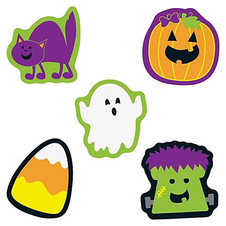 """Carson-Dellosa Halloween Mini Cut-outs - Learning, Fun, Halloween Theme/Subject - 7, 7, 7, 7, 8 (Cat, Monster, Pumpkin, Ghost, Candy Corn) Shape - 3"""" Width x 3"""" Length - Multicolor - 36 / Pack"""