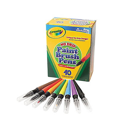 Crayola® Washable Paint Brush Pens, Assorted Colors, Box Of 40