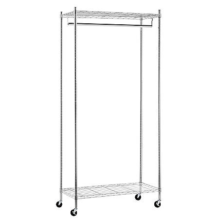 "Honey-Can-Do Heavy-Duty Rolling Garment Rack, 73 1/4""H x 17 3/4""W x 35 7/8""D, Chrome"