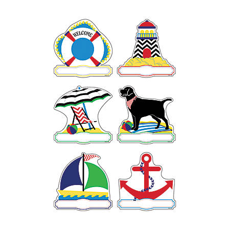 Barker Creek® Accents, Double-Sided, Chevron Nautical, Pack Of 36