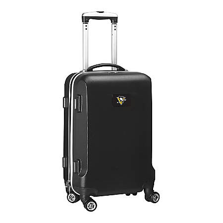 """Denco 2-In-1 Hard Case Rolling Carry-On Luggage, 21""""H x 13""""W x 9""""D, Pittsburgh Penguins, Black"""