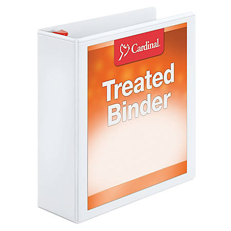 """Treated ClearVue Locking D-Ring Binders, 3"""" Rings, 57% Recycled, White"""