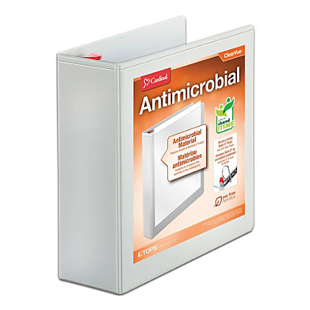 """Treated ClearVue Locking D-Ring Binders, 4"""" Rings, 57% Recycled, White"""