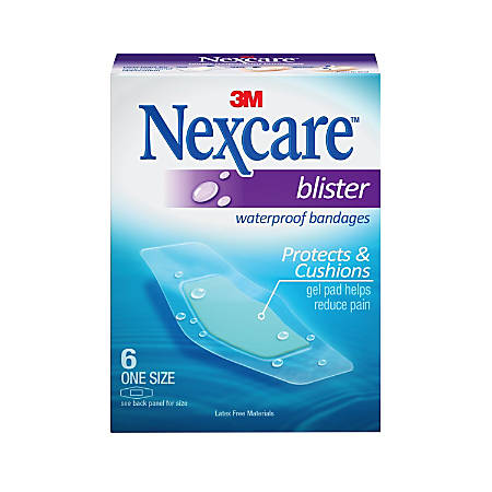 "Nexcare Blister Waterproof Bandages, 1 1/16"" x 2 1/4, Clear, Box Of 6"