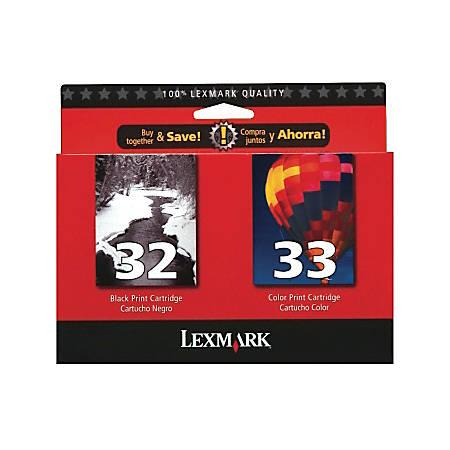 Lexmark™ 32/33 (18C0532) Black/Color Ink Cartridges, Pack Of 2