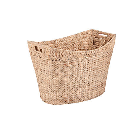 Honey-Can-Do Water Hyacinth Baskets, Tall, Natural/Brown, Pack Of 3