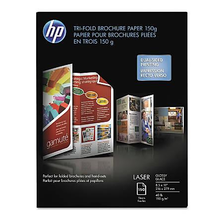 "HP Laser Tri-Fold Brochure Paper, 8 1/2"" x 11"", 40 Lb, Pack of 60 Sheets"
