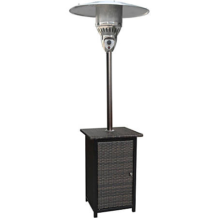 Hanover 7-Ft. Square Wicker Propane Patio Heater - Gas - Propane - 12.02 kW - Outdoor - Brown, Hammered Bronze