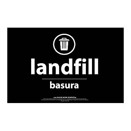 "Recycle Across America Landfill Standardized Recycling Labels, LAND-5585, 5 1/2"" x 8 1/2"", Black"