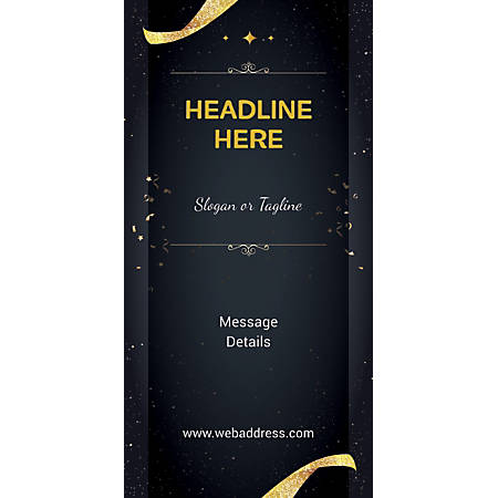 Custom Vertical Banner, Gold Ribbons And Sparkles