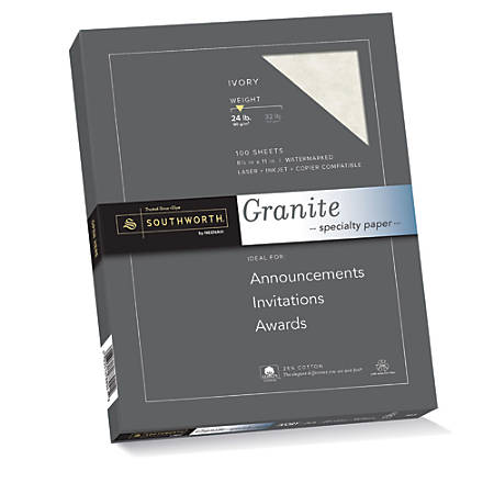 "Southworth® 25% Cotton Granite Specialty Paper Sampler, 8 1/2"" x 11"", 24 Lb, 50% Recycled, Ivory, Pack Of 100"