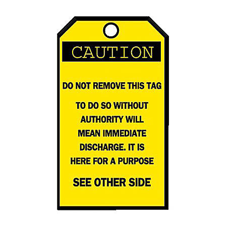 Brady Accident Prevention Tags, Caution With Blank Reverse Side, Pack Of 25