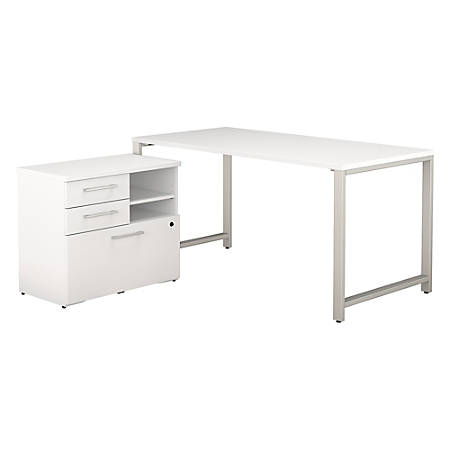 "Bush Business Furniture 400 Series Table Desk with Storage, 60""W x 30""D, White, Premium Installation"