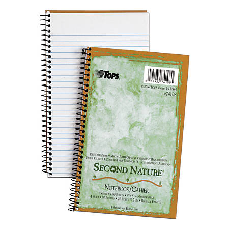 "TOPS® Second Nature® 100% Recycled Perforated Notebook, 5"" x 8"", 1 Subject, Narrow Ruled, 40 Sheets, White"