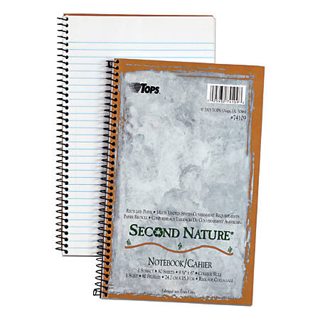 "TOPS® Second Nature® 100% Recycled Perforated Notebook, 6"" x 9 1/2"", 1 Subject, College Ruled, 40 Sheets, White"