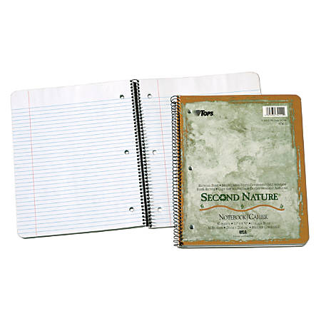 "TOPS® Second Nature® 100% Recycled Perforated Notebook, 3-Hole Punched, 8 1/2"" x 11"", 1 Subject, College Ruled, 40 Sheets, White"