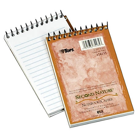 "TOPS™ Second Nature® 30% Recycled Top Opening Memo Book, 3"" x 5"", 1 Subject, Narrow Ruled, 50 Sheets, White"