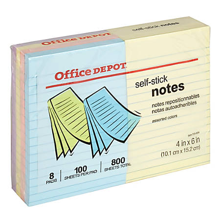 """Office Depot® Brand Self-Stick Notes, Lined, 4"""" x 6"""", Assorted Pastel Colors, 100 Sheets Per Pad, Pack Of 8"""