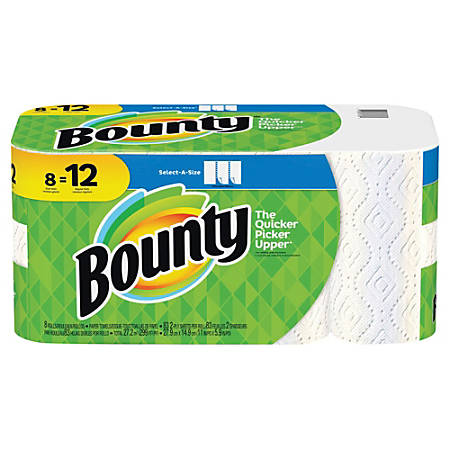 "Bounty Select-A-Size 2-Ply Paper Towels, 11"" x 5-15/16"", White, Pack Of 8 Giant Rolls"
