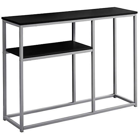 Monarch Specialties Accent Table With Shelf, Rectangular, Cappuccino/Silver