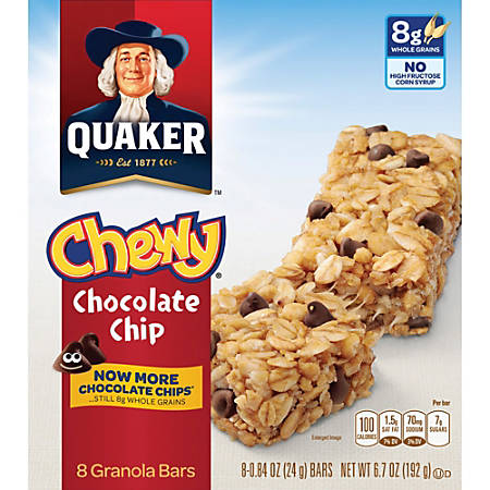 Quaker Oats Chocolate Chip Chewy Granola Bars - Individually Wrapped - Chocolate Chip - 6.70 oz - 8 / Box
